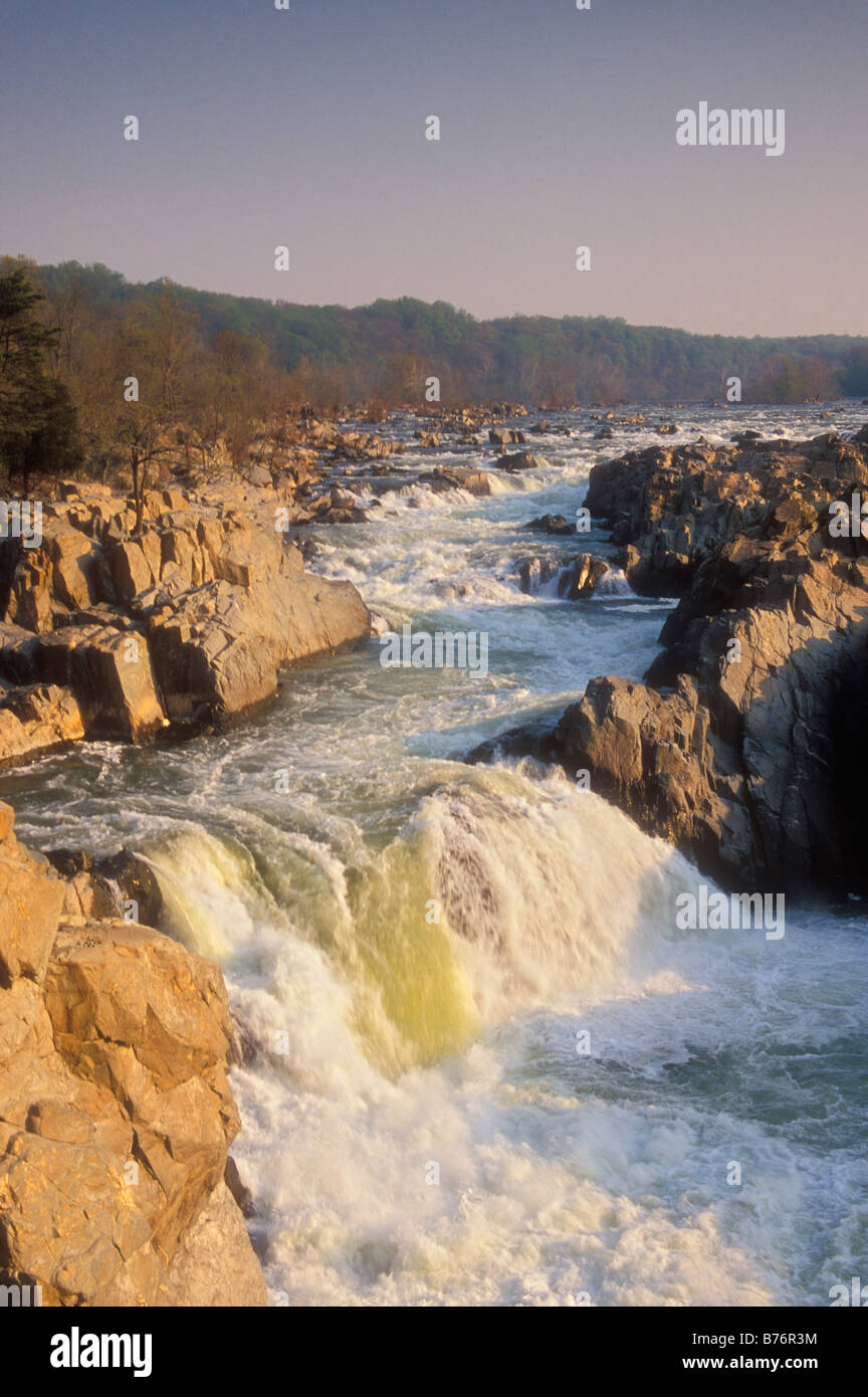 Sunrise, Mather Gorge, Great Falls Park, Fairfax County, Virginia, USA - Stock Image