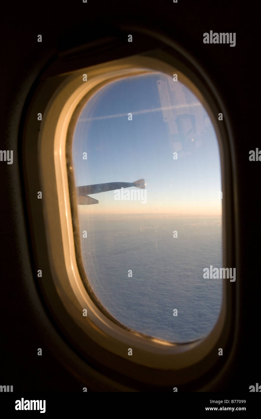 view from an airoplane window - Stock Image