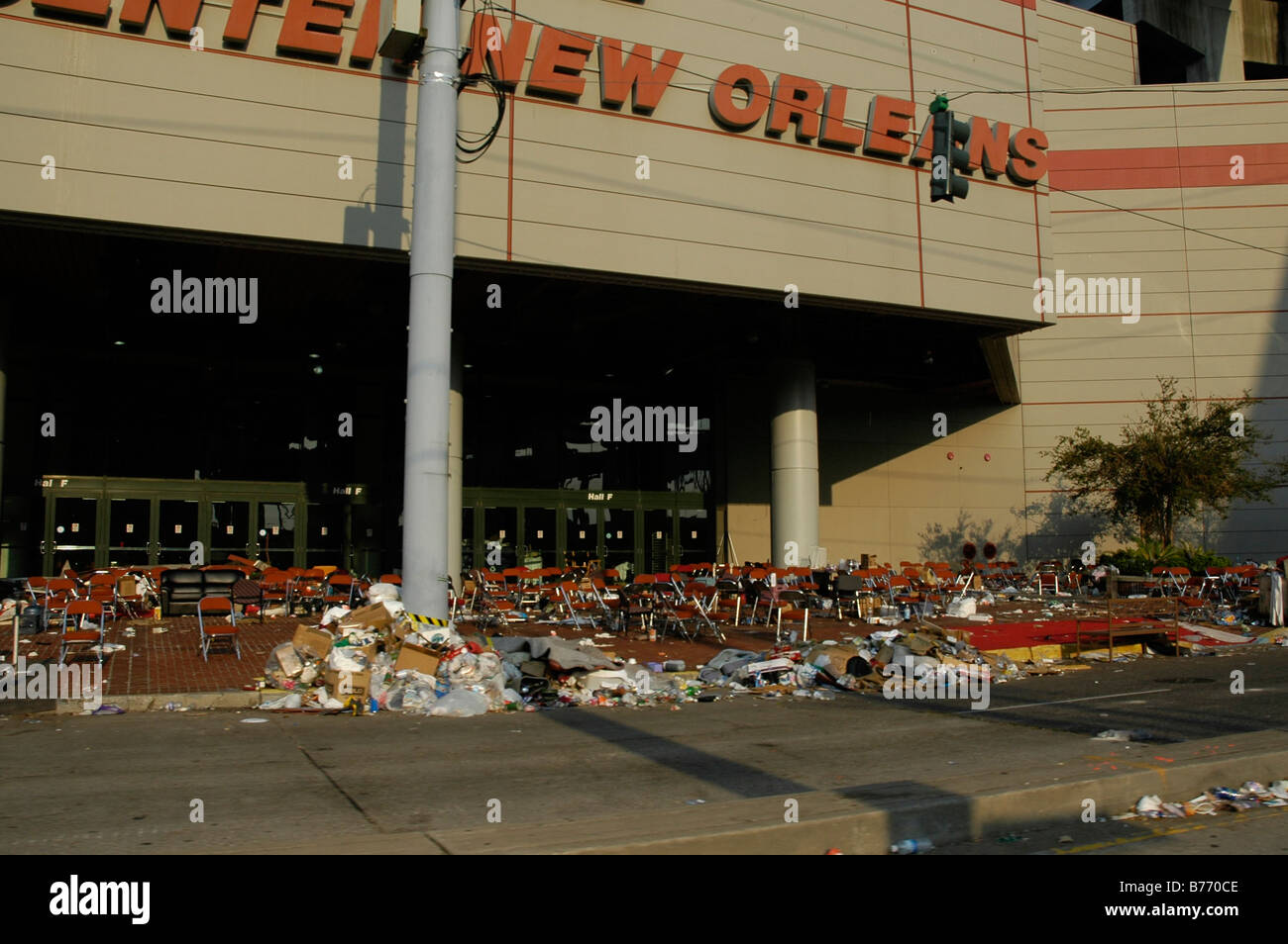 new orleans conference centre abandoned with chairs and remains of human occupation after Hurricane Katrina - Stock Image