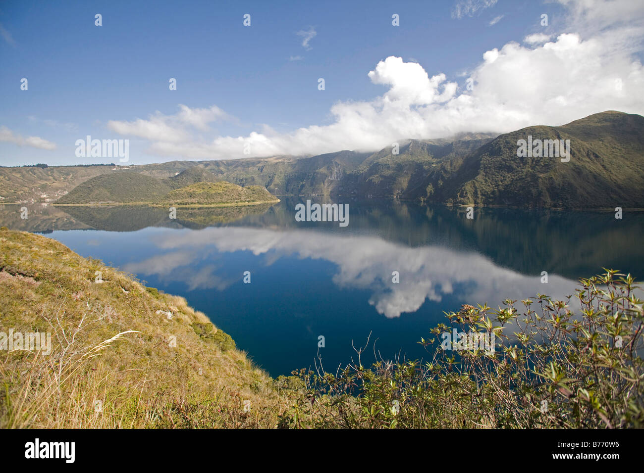 Cuicocha caldera and Crater lake at the foot of Cotacatchi Volcano in the Cordillera Occidental of Ecuadorian Andes. Stock Photo