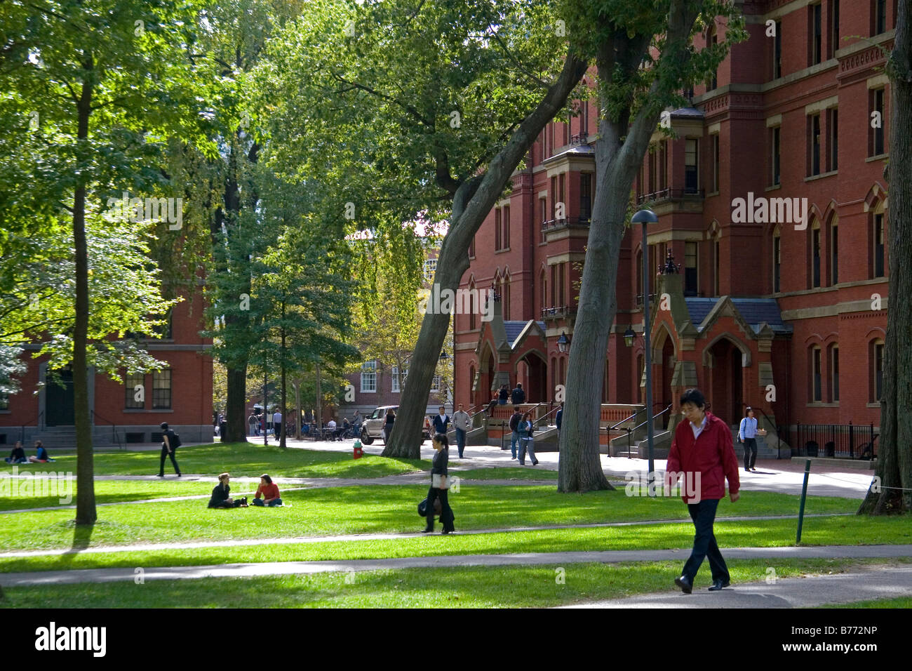 Harvard Yard at Harvard University in Cambridge Greater Boston Massachusetts USA - Stock Image