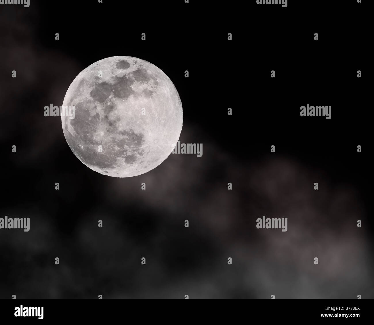 Full Wolf Moon on January 10 2009. Stock Photography by cahyman. - Stock Image