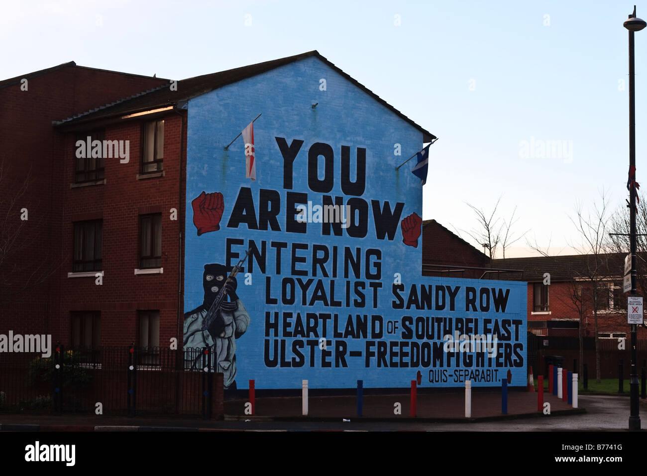 Loyalist Mural on Sandy Row in Belfast Northern Ireland - Stock Image