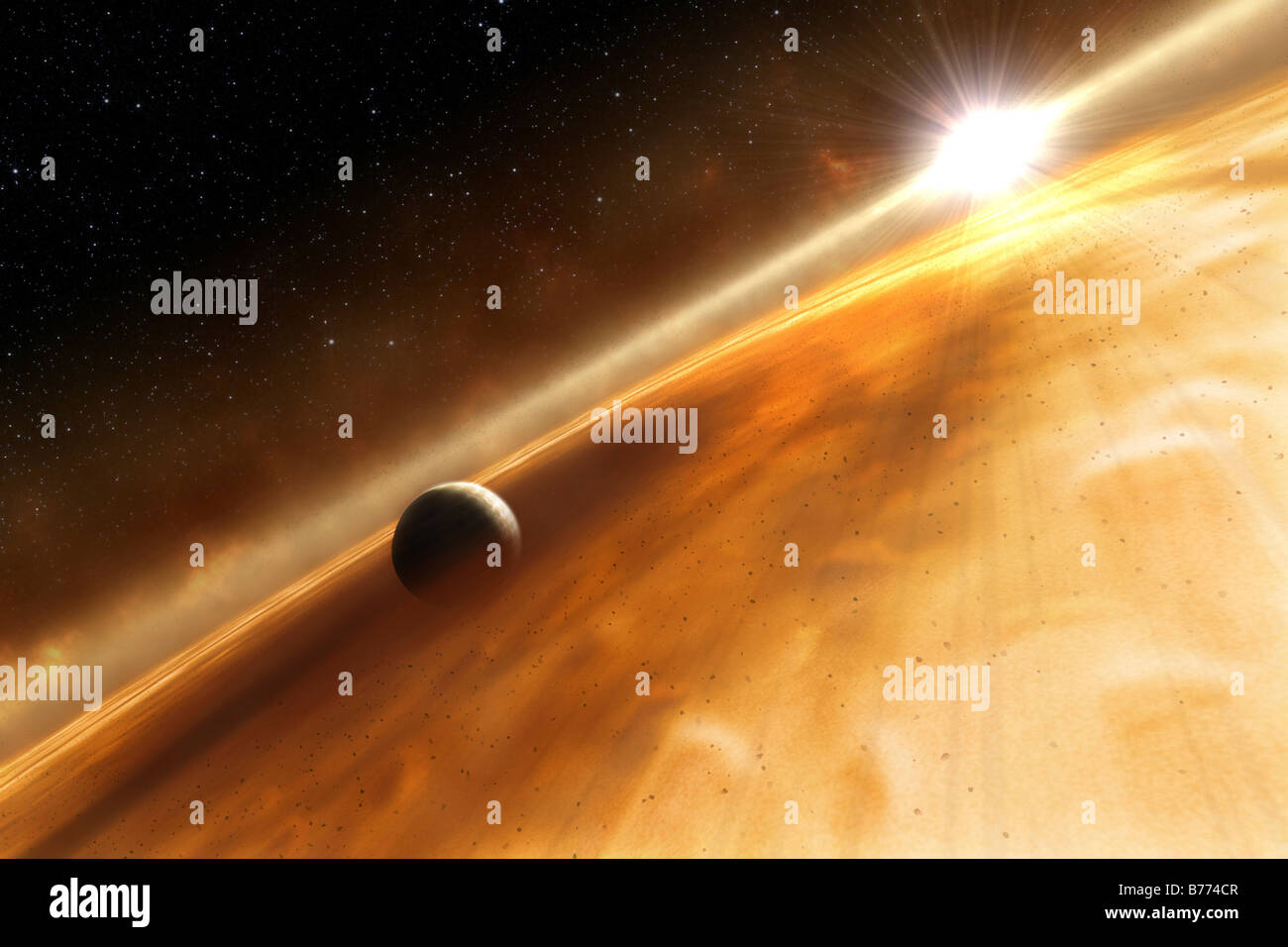 Artist's concept of the star Fomalhaut and a Jupiter-type planet. - Stock Image