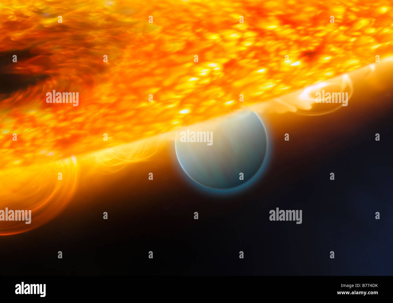 An artist's impression of a Jupiter-size extrasolar planet being eclipsed by its parent star. - Stock Image