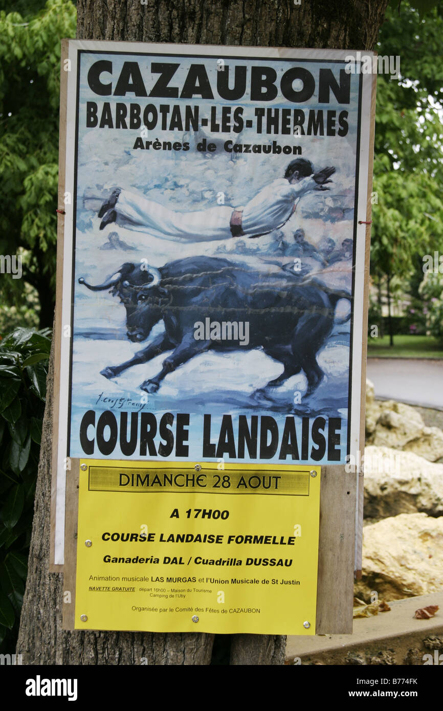 Poster for Course Landaise at Cazaubon Barbotan les Thermes France Stock Photo