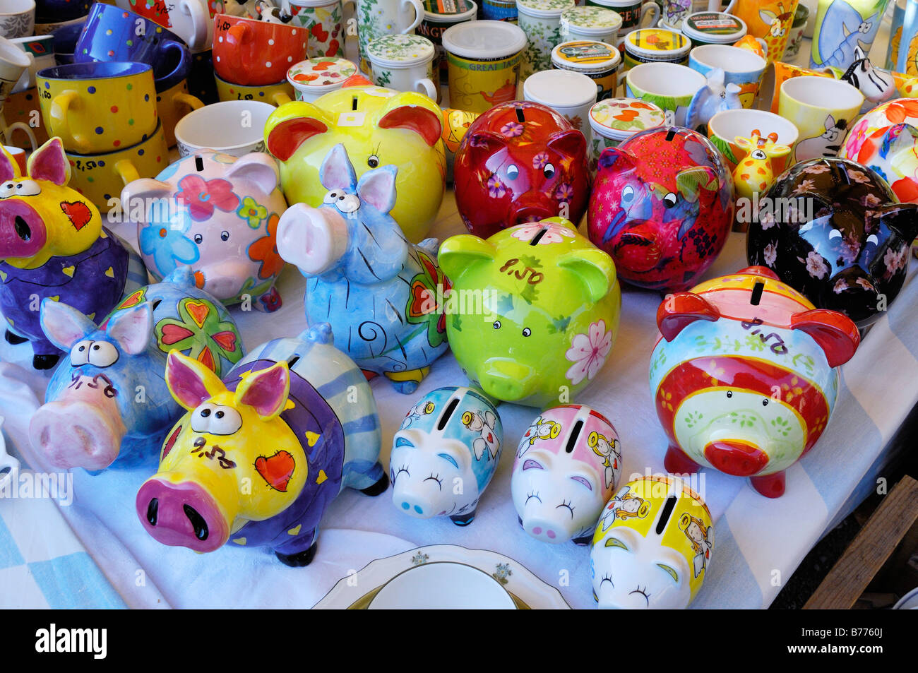 Piggy banks, Auer Dult, Munich, Bavaria, Germany, Europe - Stock Image