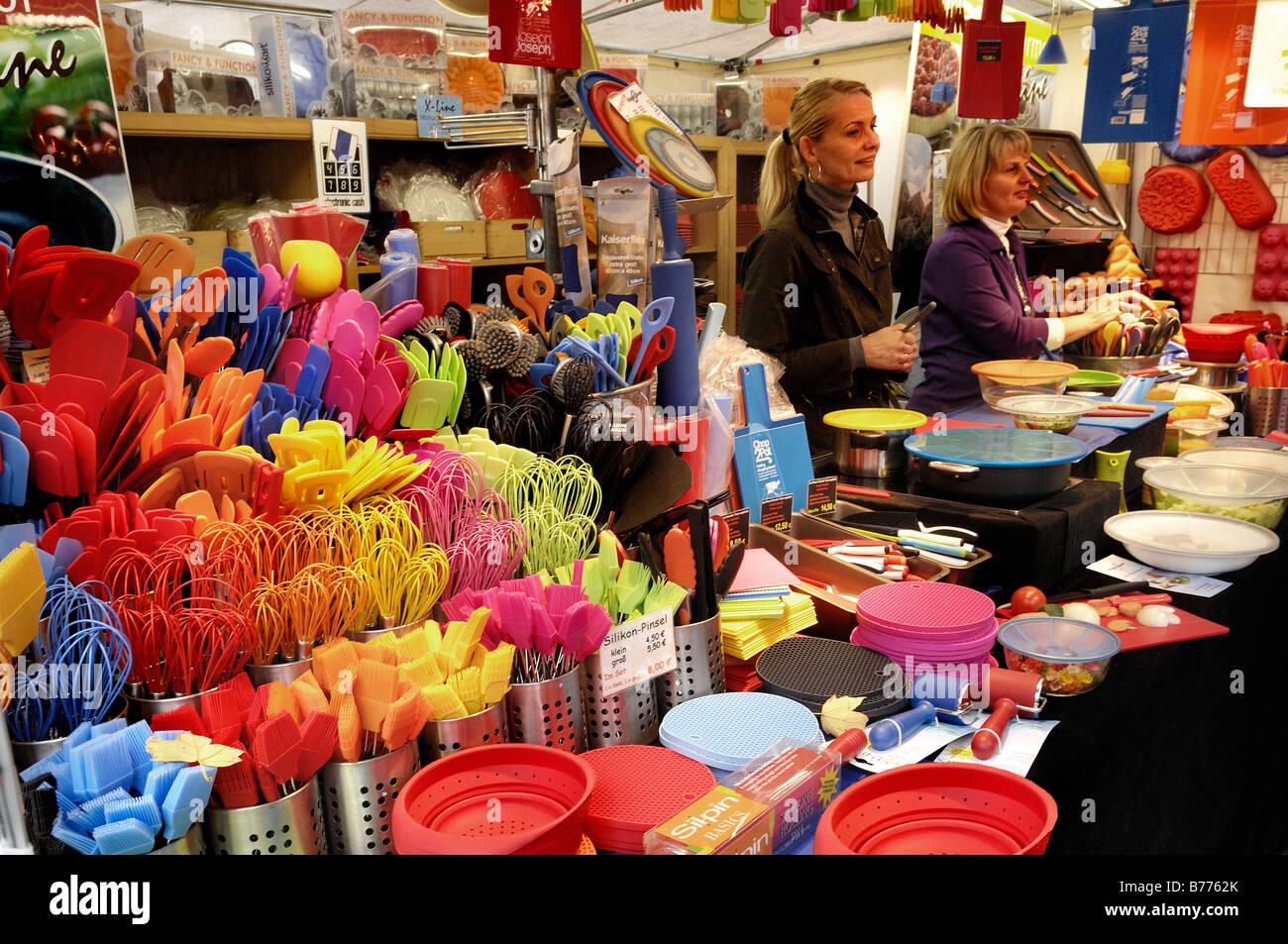 Stall with plastic kitchen utensils, Auer Dult market, Munich, Bavaria, Germany, Europe - Stock Image