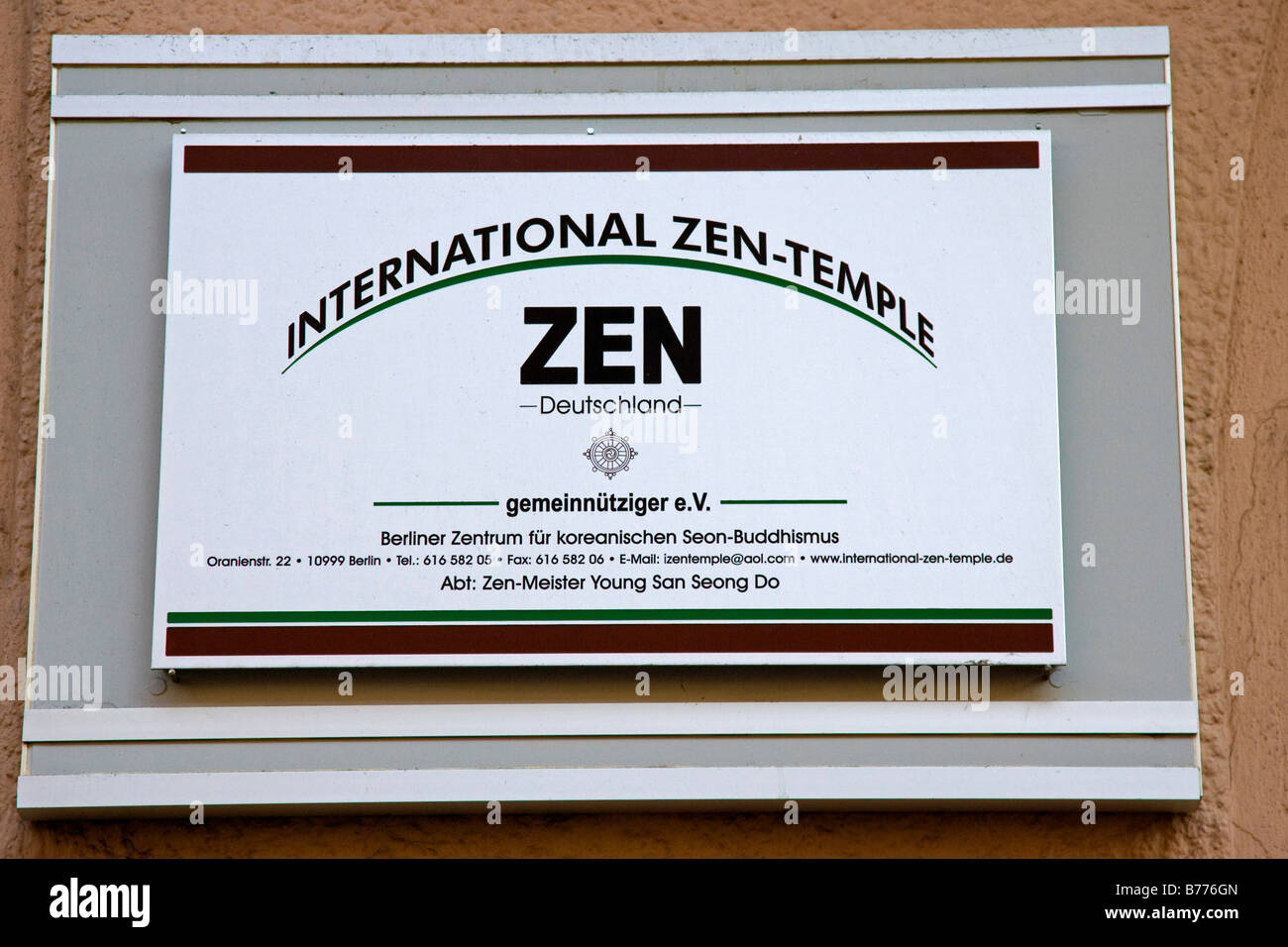 Sign on the wall of the International ZEN-Temple in Berlin, Germany, Europe - Stock Image