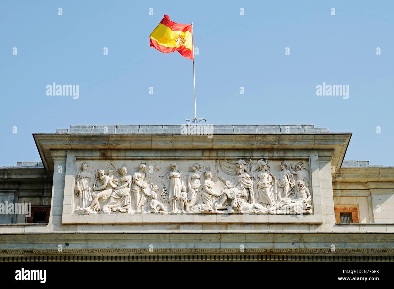 National flag, front, entrance, Puerta de Velazquez, Prado, museum, Madrid, Spain, Europe - Stock Image