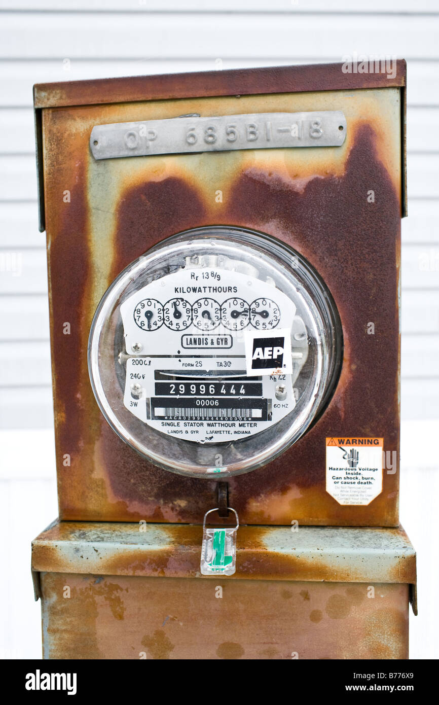 An aging electric meter - Stock Image