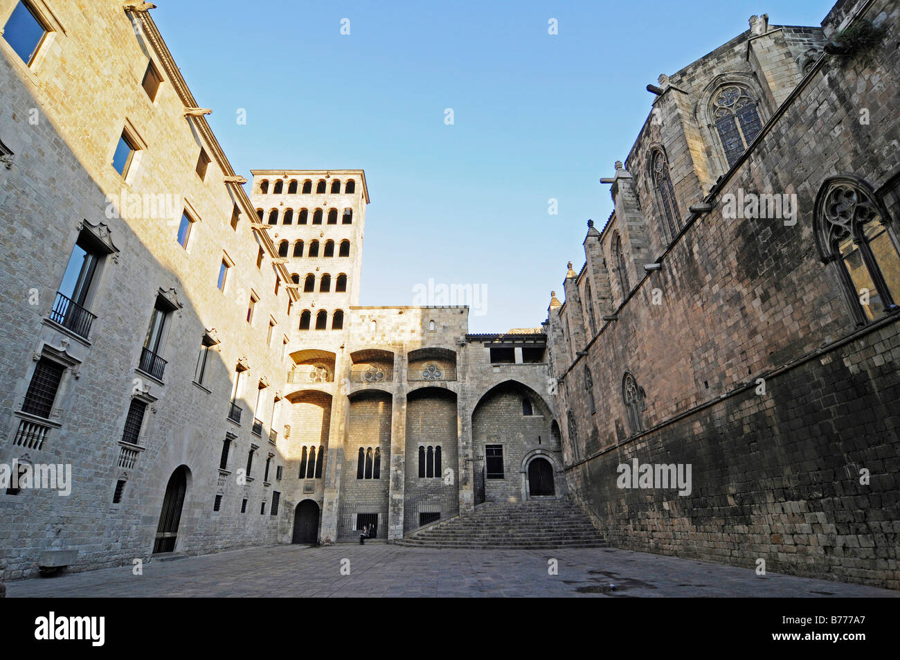 Palau Reial Mayor, Santa Agatha Chapel, Placa del Rei, Plaza, Barri Gotic, Barcelona, Catalonia, Spain, Europe - Stock Image