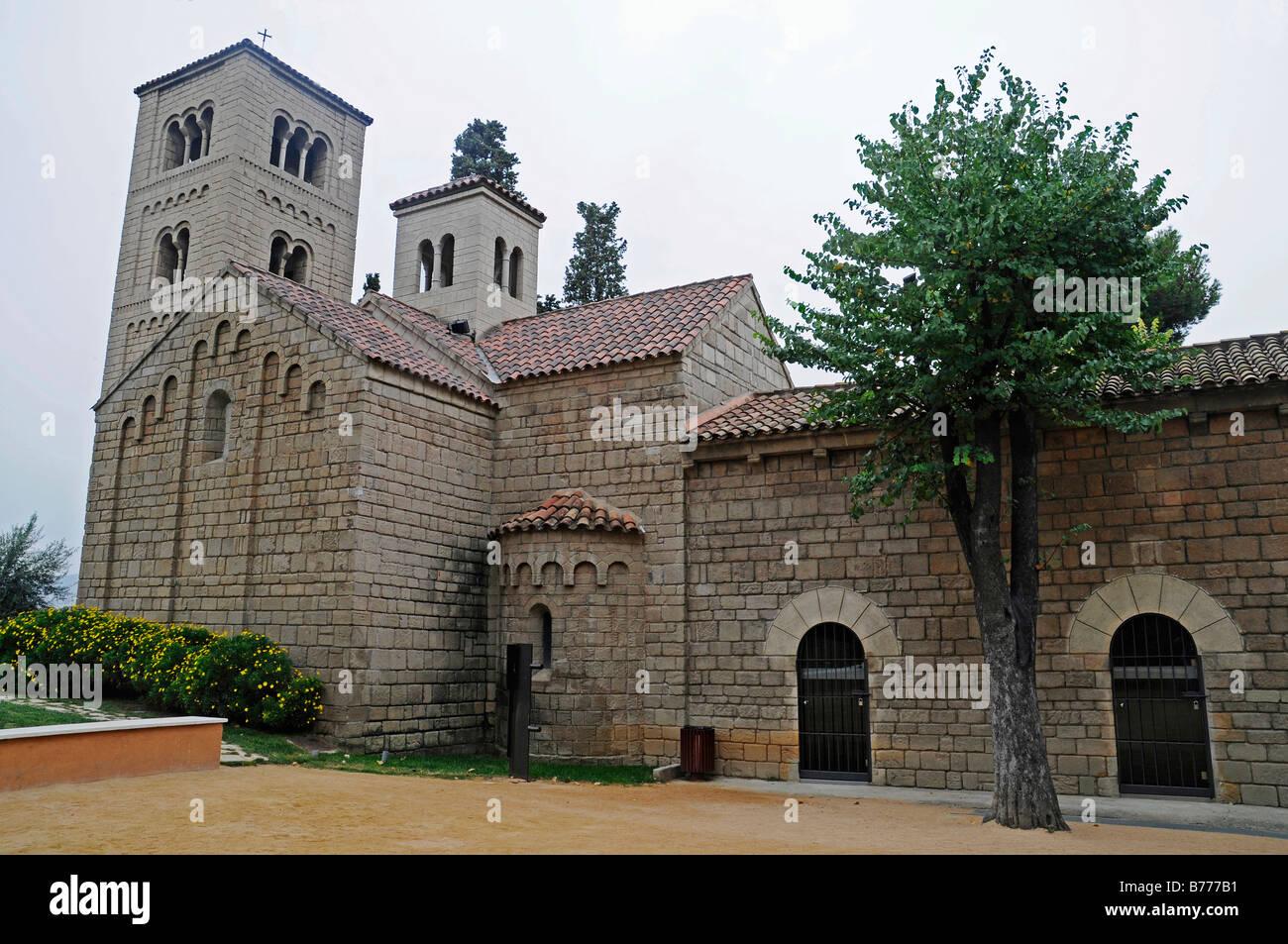 Monasterio Romanico, monastery and church, Poble Espanyol, Spanish village, open-air museum, Montjuic, Barcelona, - Stock Image