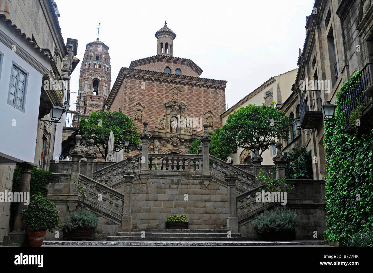 Stairs and church, Poble Espanyol, Spanish village, open-air museum, Montjuic, Barcelona, Catalonia, Spain, Europe Stock Photo