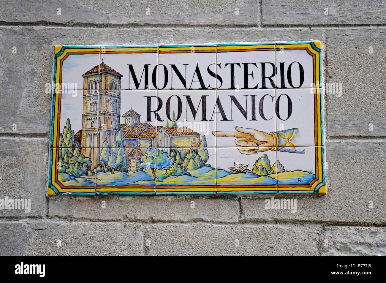 Sign, Spanish tiles, azulejos, Monasterio Romanico, monastery, Poble Espanyol, Spanish village, open-air museum, - Stock Image
