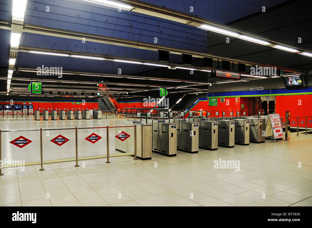 Entrance barriers, deserted, Metrostation El Capricho, Madrid, Spain, Europe - Stock Image