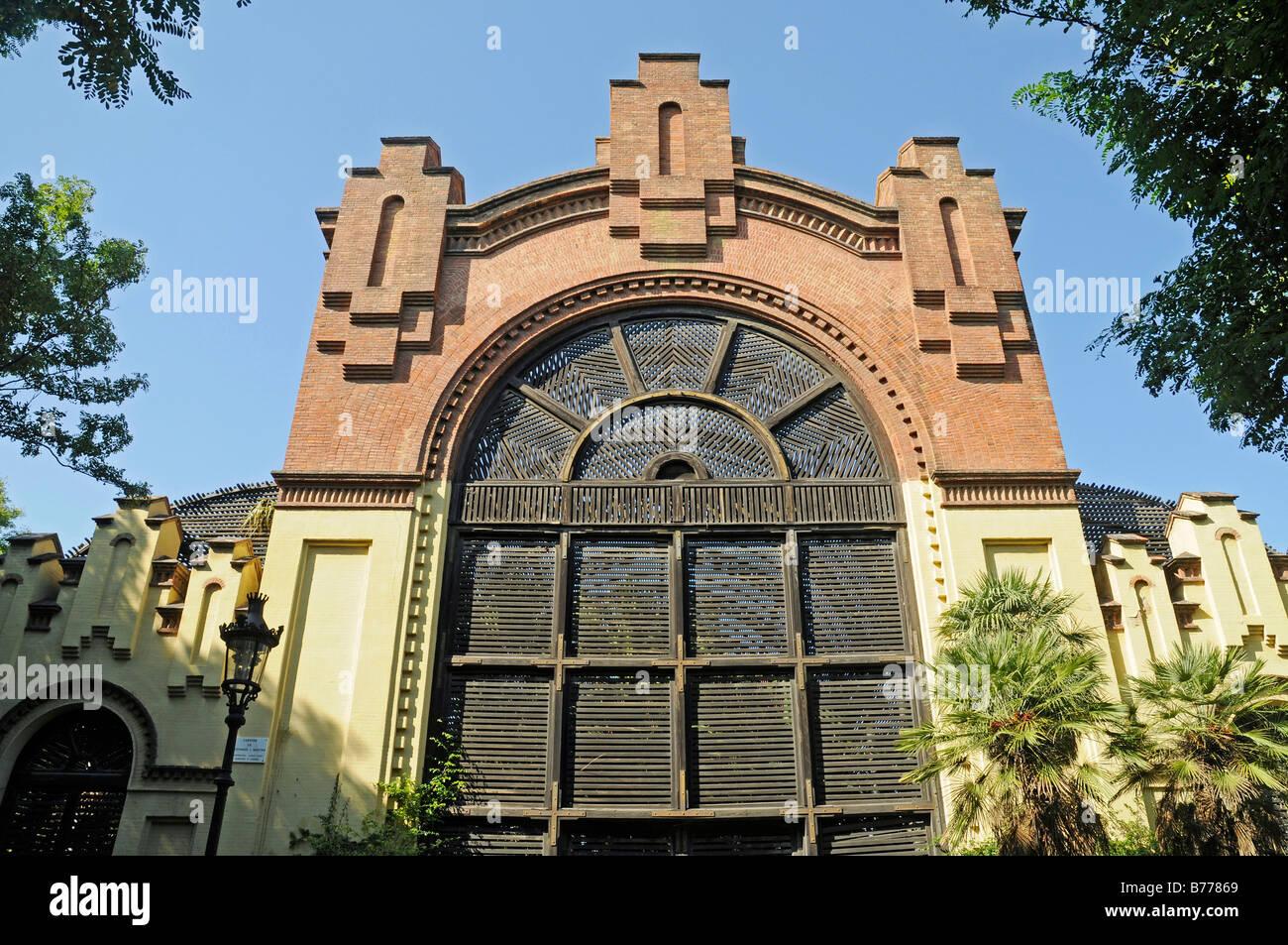 Facade, greenhouse, Jardins de Fontsere i Mestre, architect Josep Fontsere i Mestre, Parc de la Ciutadella, Barcelona, - Stock Image