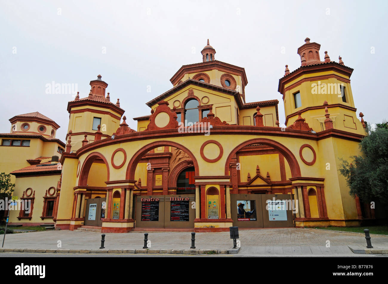 Facade, Teatre Lliure, Catalan theatre, Montjuic, Barcelona, Catalonia, Spain, Europe - Stock Image
