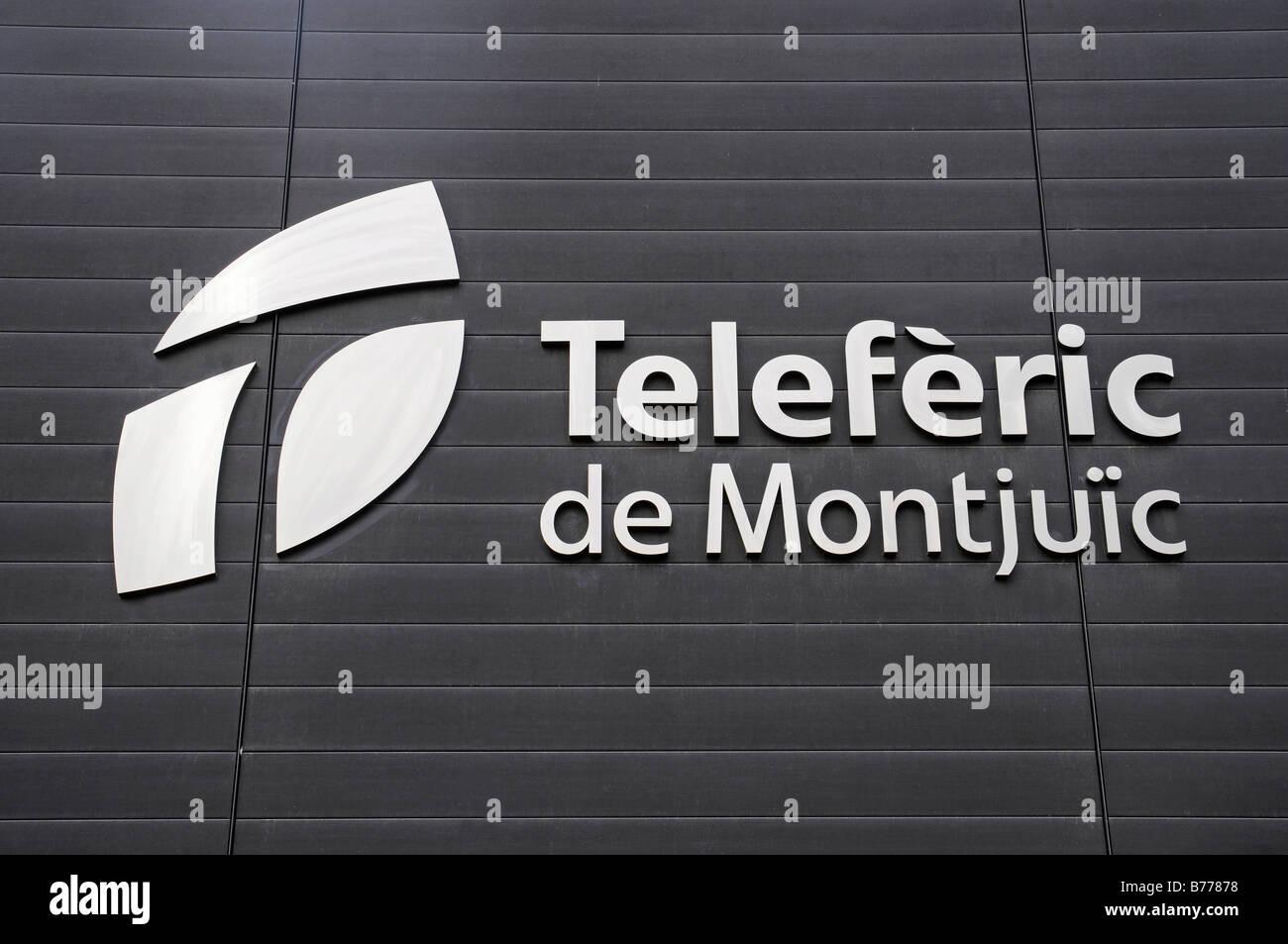 Teleferic, cable car logo, Montjuic, Barcelona, Catalonia, Spain, Europe - Stock Image