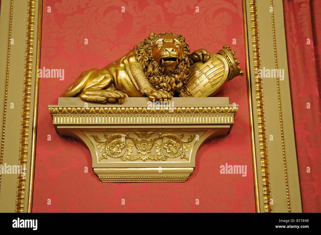 Lion statue, the Golden Parlour, hall, Palacio de la Llotja de Mar, former stock exchange, Barcelona, Catalonia, Stock Photo