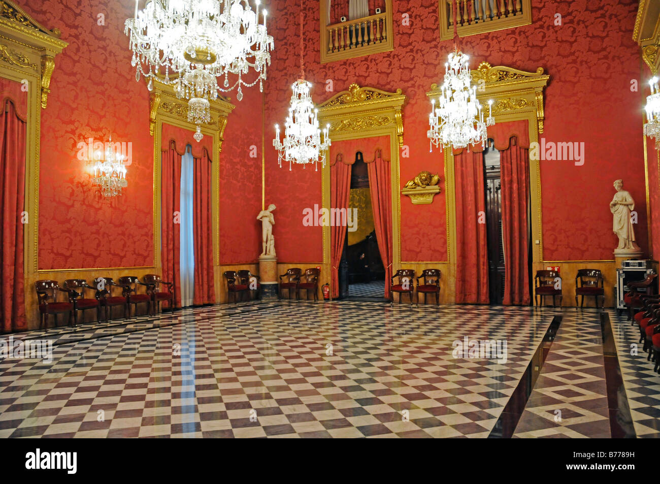 The Golden Parlour, hall, Palacio de la Llotja de Mar, former stock exchange, Barcelona, Catalonia, Spain, Europe Stock Photo
