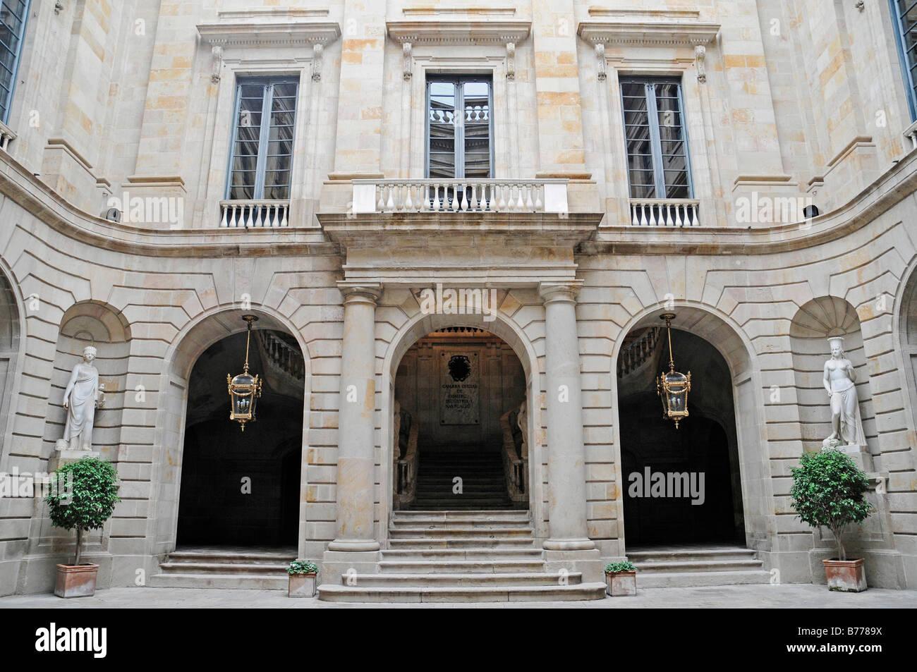 Inner courtyard, Palacio de la Llotja de Mar, former stock exchange, Barcelona, Catalonia, Spain, Europe Stock Photo