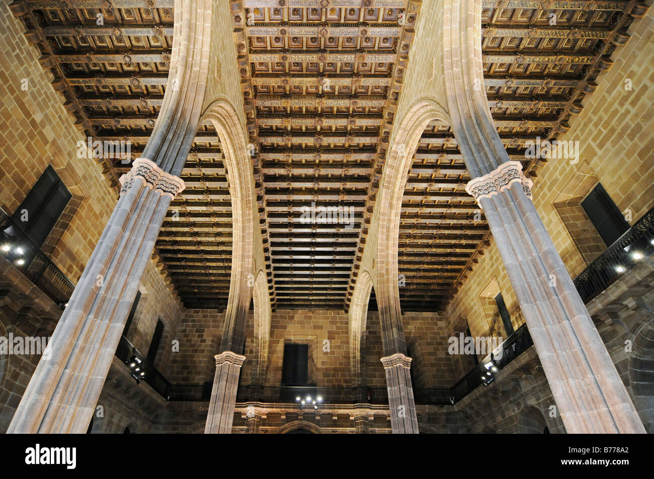 Arched roof, entrance hall, parlour, Palacio de la Llotja de Mar, former stock exchange, Barcelona, Catalonia, Spain, Stock Photo