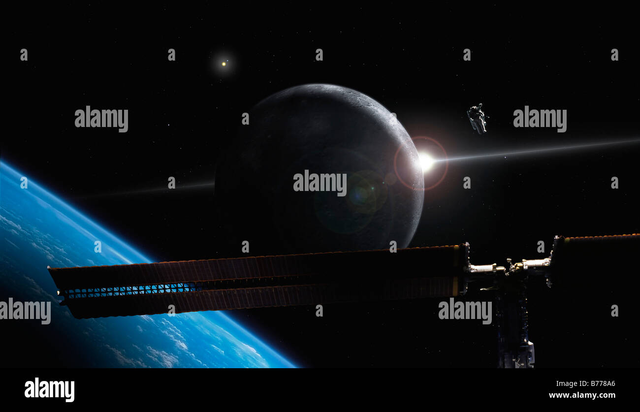 Futuristic illustration concept depicting astronaut in orbit over earth-like planet system with space station. - Stock Image