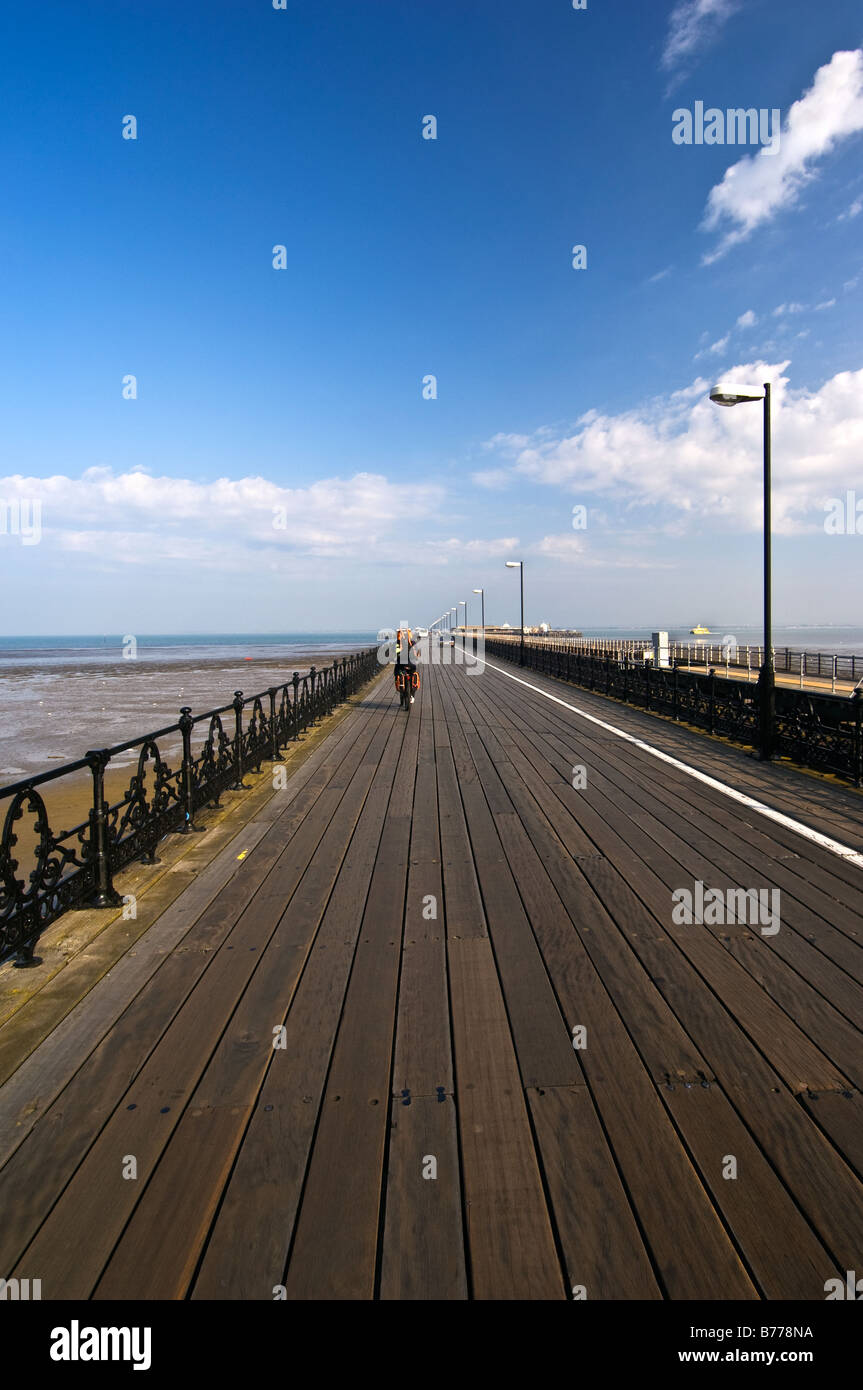 A low angle view looking along the planking of Ryde Pier. - Stock Image