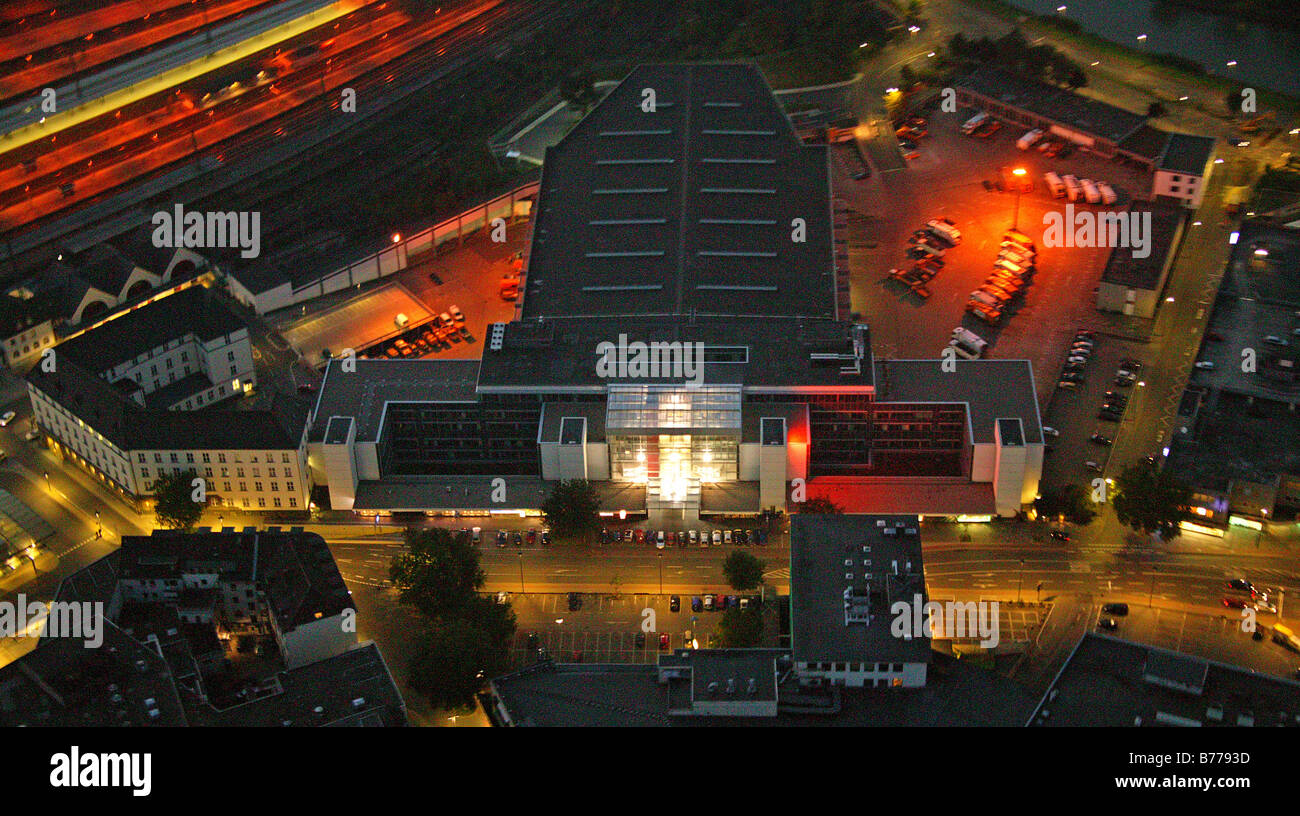 Aerial picture, night shot, Technisches Rathaus, engineering city hall, Hamm, Ruhr area, North Rhine-Westphalia, - Stock Image