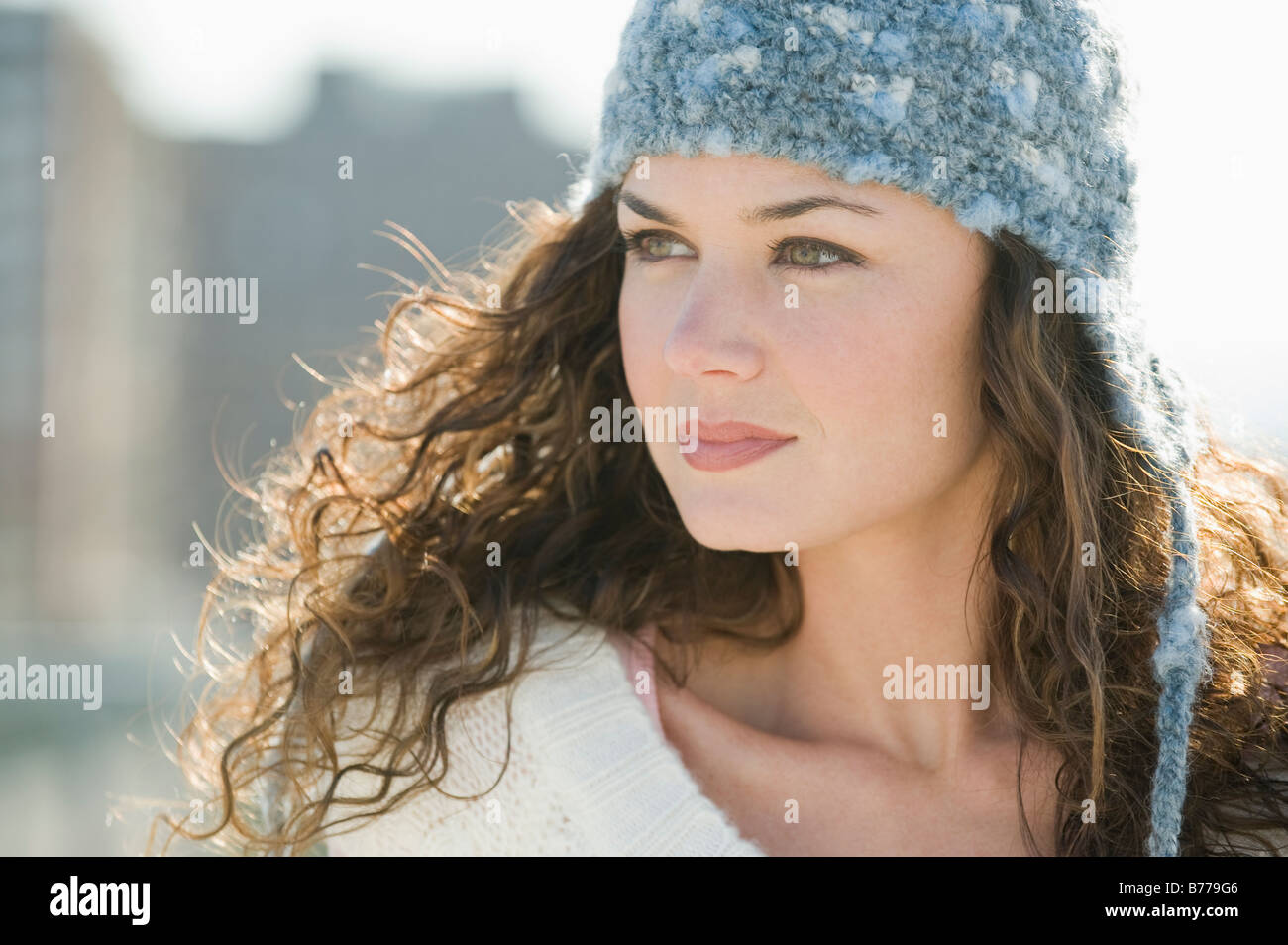 Close up of woman stocking cap - Stock Image