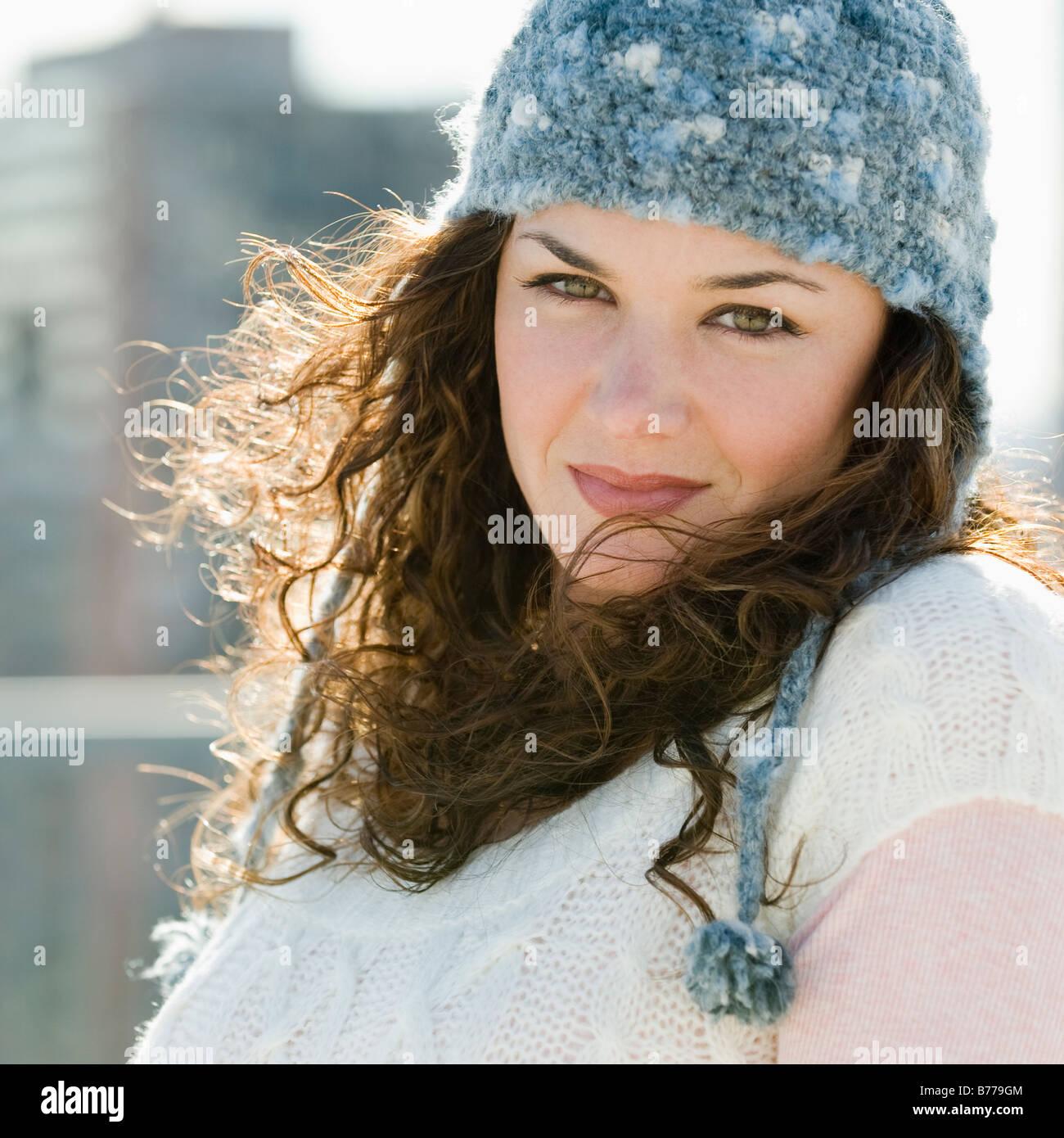 Portrait of woman stocking cap - Stock Image