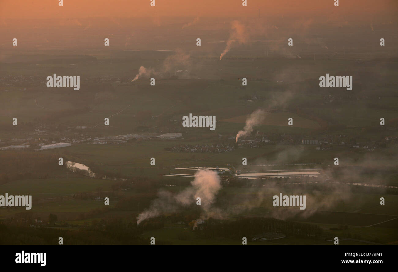 Aerial photograph, smoke plumes of the Easter fires above Froendenberg Warmen, Sauerland region, South Westphalia, - Stock Image