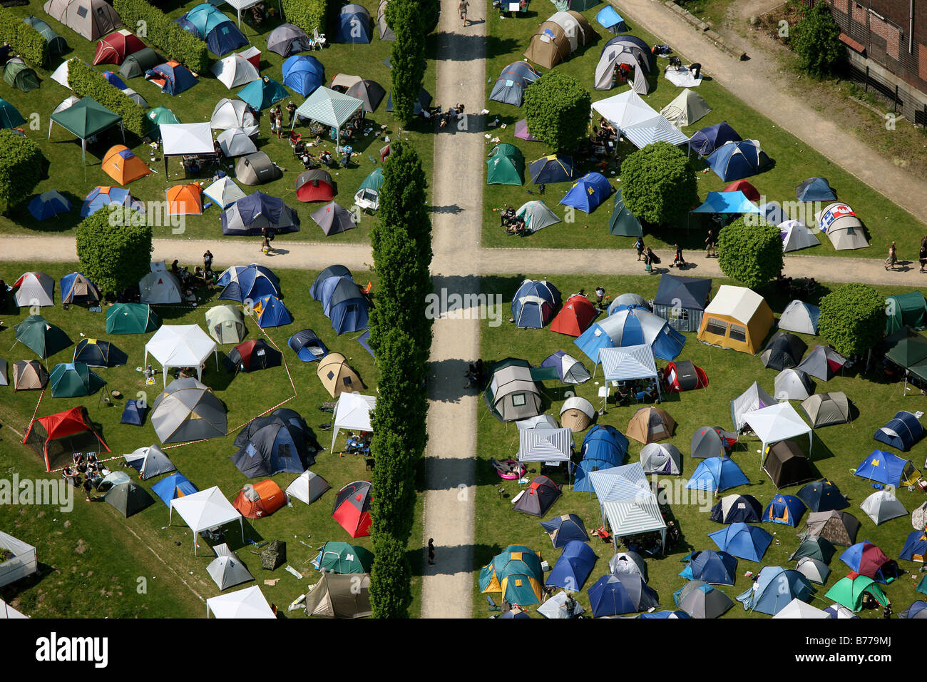 Aerial view, tents, crossing footpaths, Rock Hard Festival, Nordsternpark, Gelsenkirchen, Ruhr Area, North Rhine - Stock Image