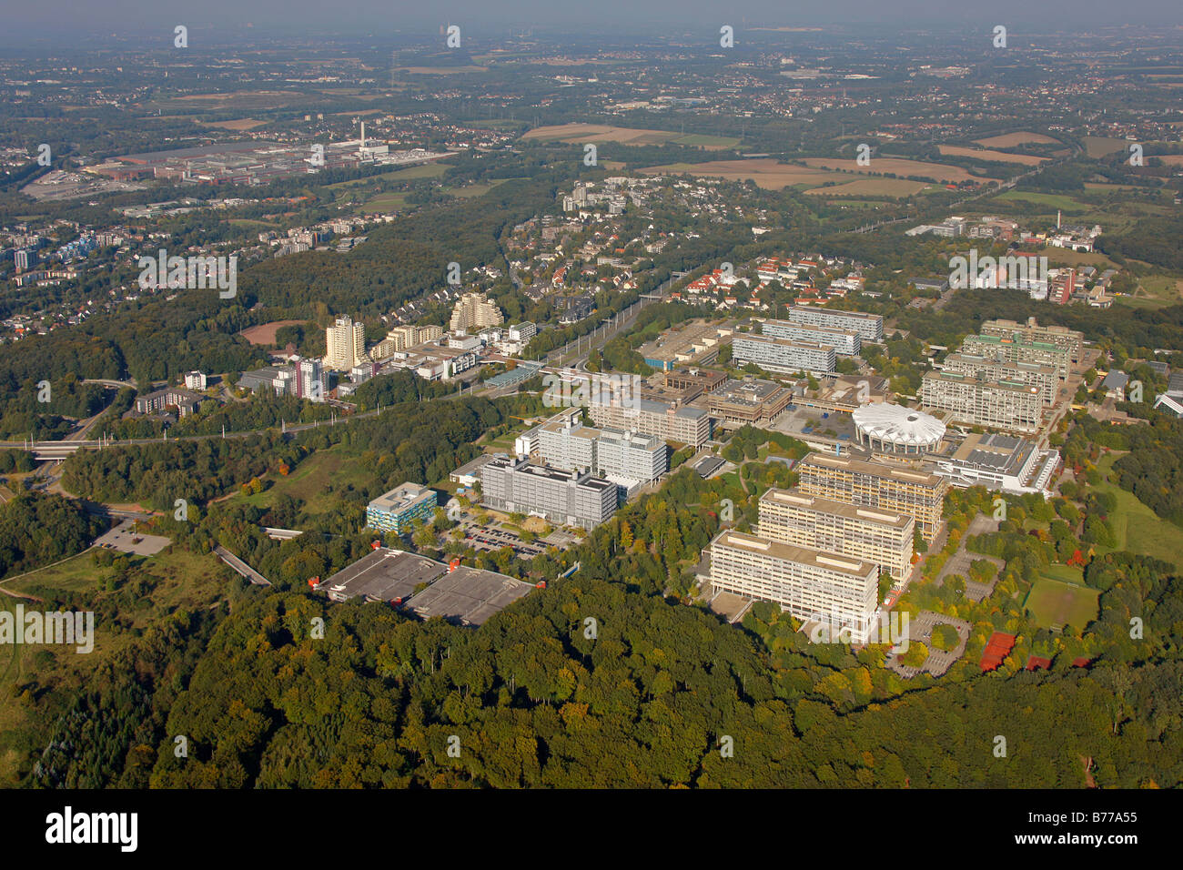 Aerial photograph, Centre for Biomedicine at the RUB, Ruhr University, Bochum, Ruhr district, North Rhine-Westphalia, - Stock Image