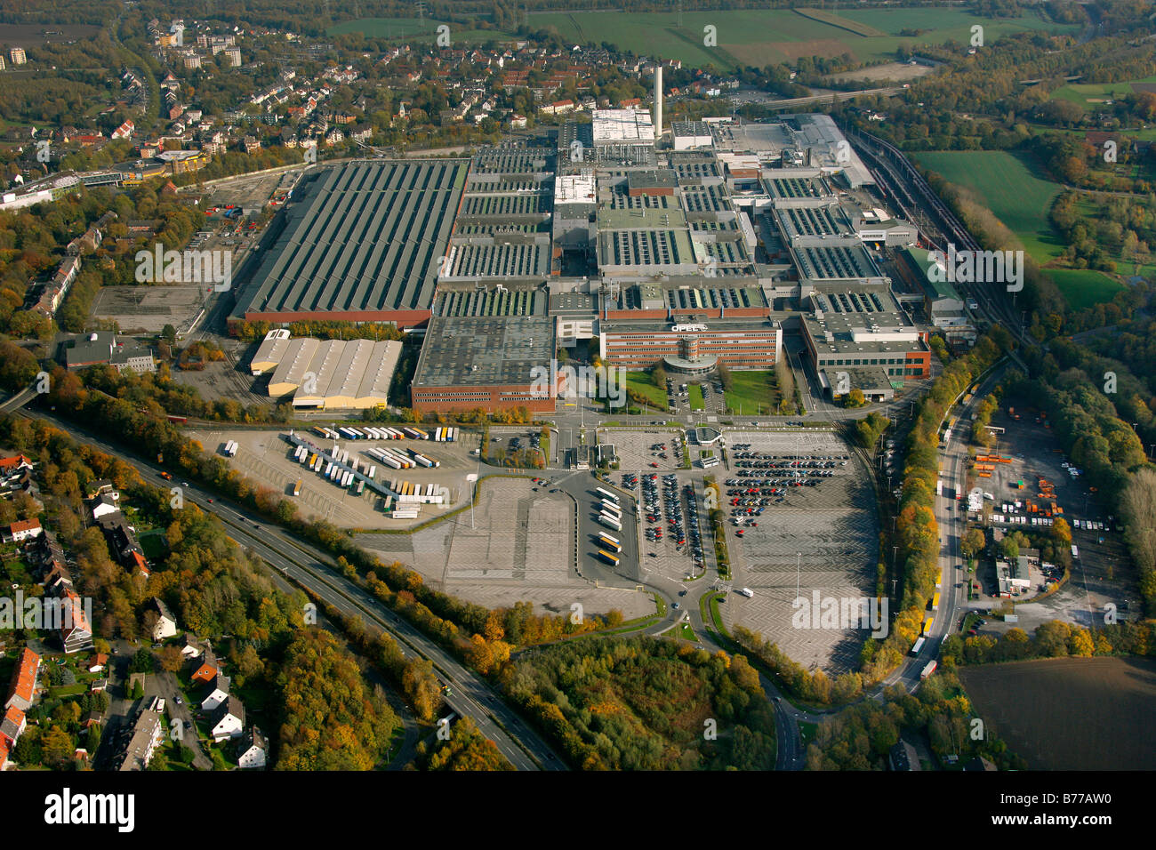 Aerial photograph, Opel Factory 1, Langendreer, General Motors, pause in production, Bochum, Ruhr district, North Stock Photo