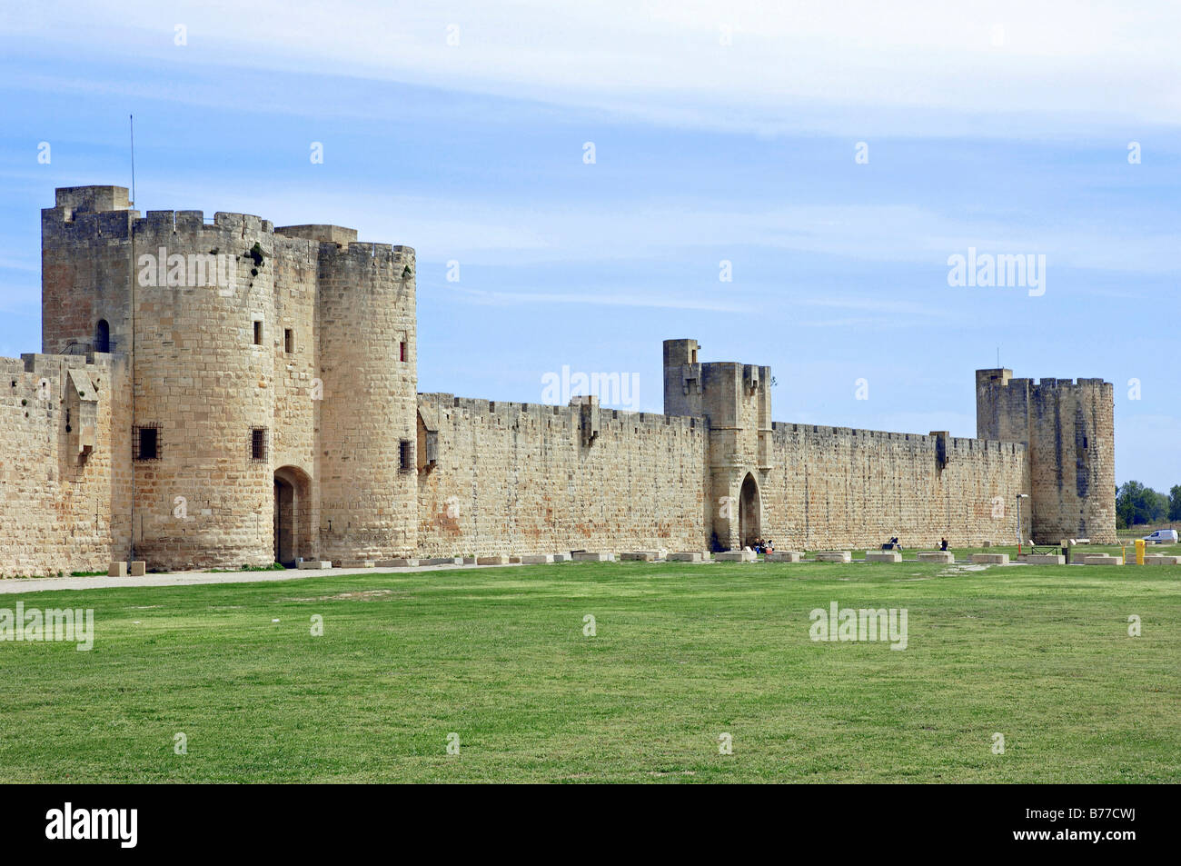 Old town wall, Aigues-Mortes, Camargue, Gard, Languedoc-Roussillon, Southern France, France, Europe - Stock Image