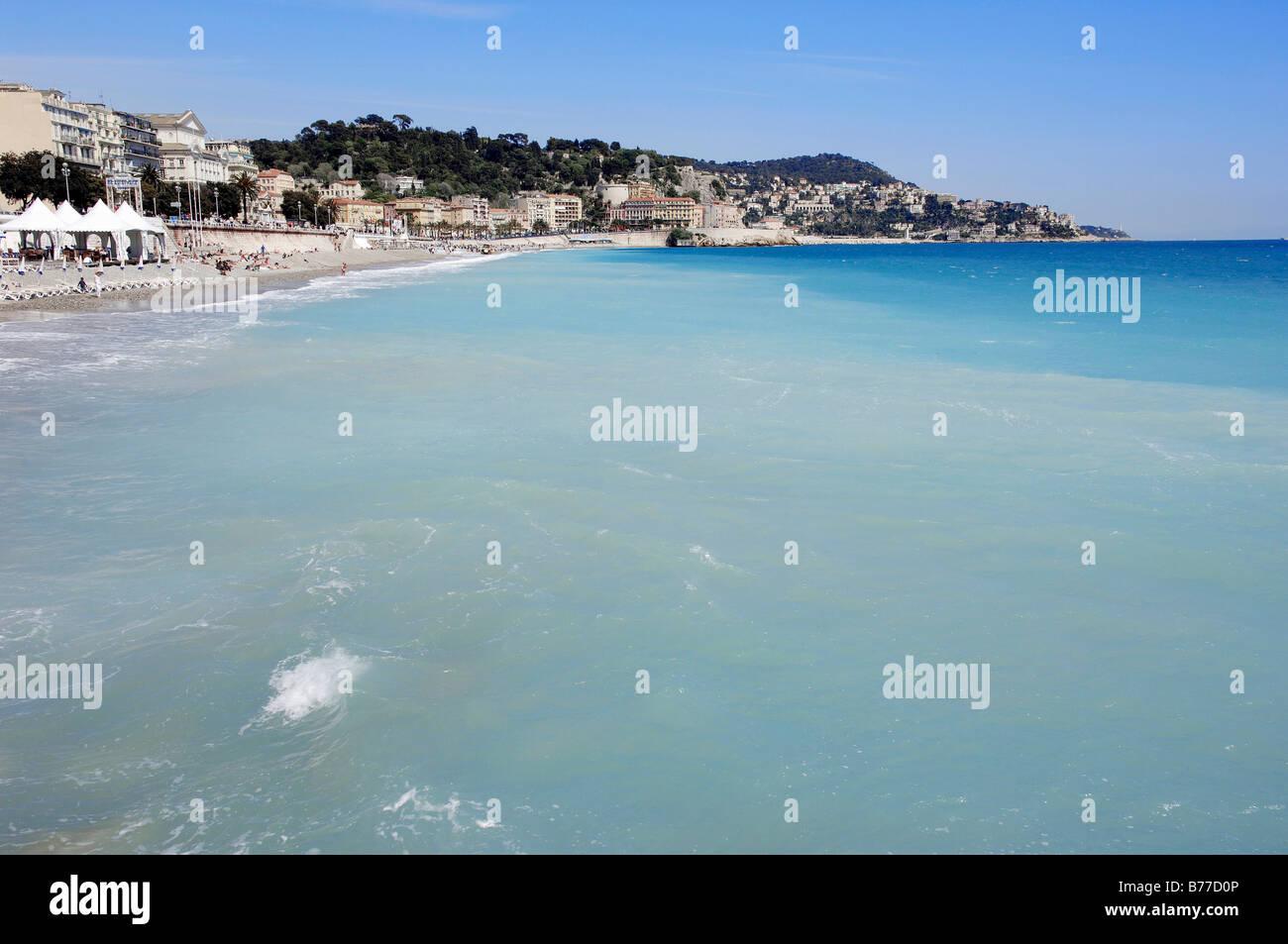 Seaside, Nice, Alpes-Maritimes, Provence-Alpes-Cote d'Azur, Southern France, France, Europe - Stock Image