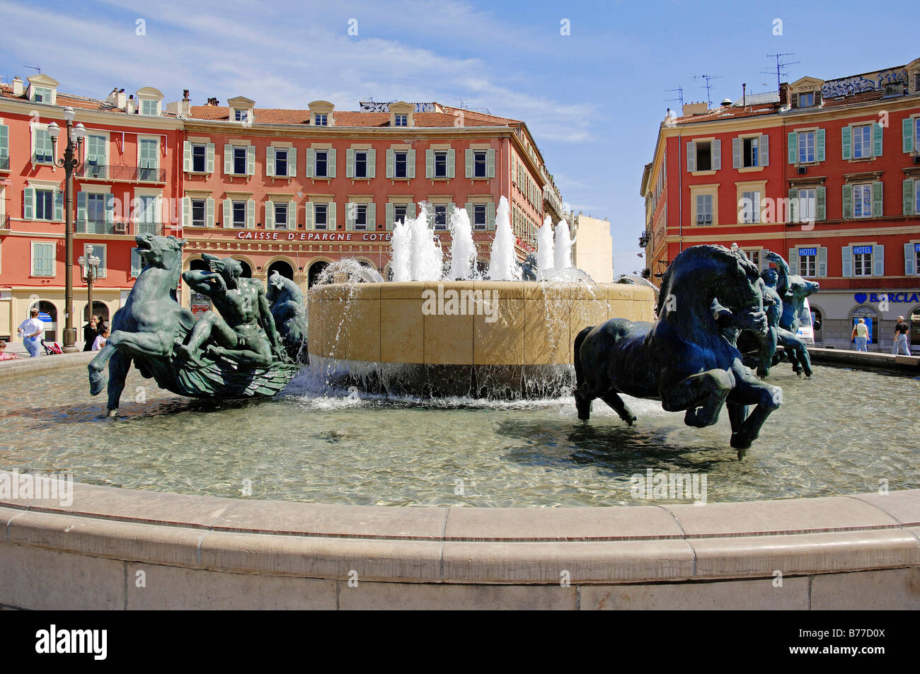Fountain at Place Massena, Nice, Alpes-Maritimes, Provence-Alpes-Cote d'Azur, Southern France, France, Europe - Stock Image
