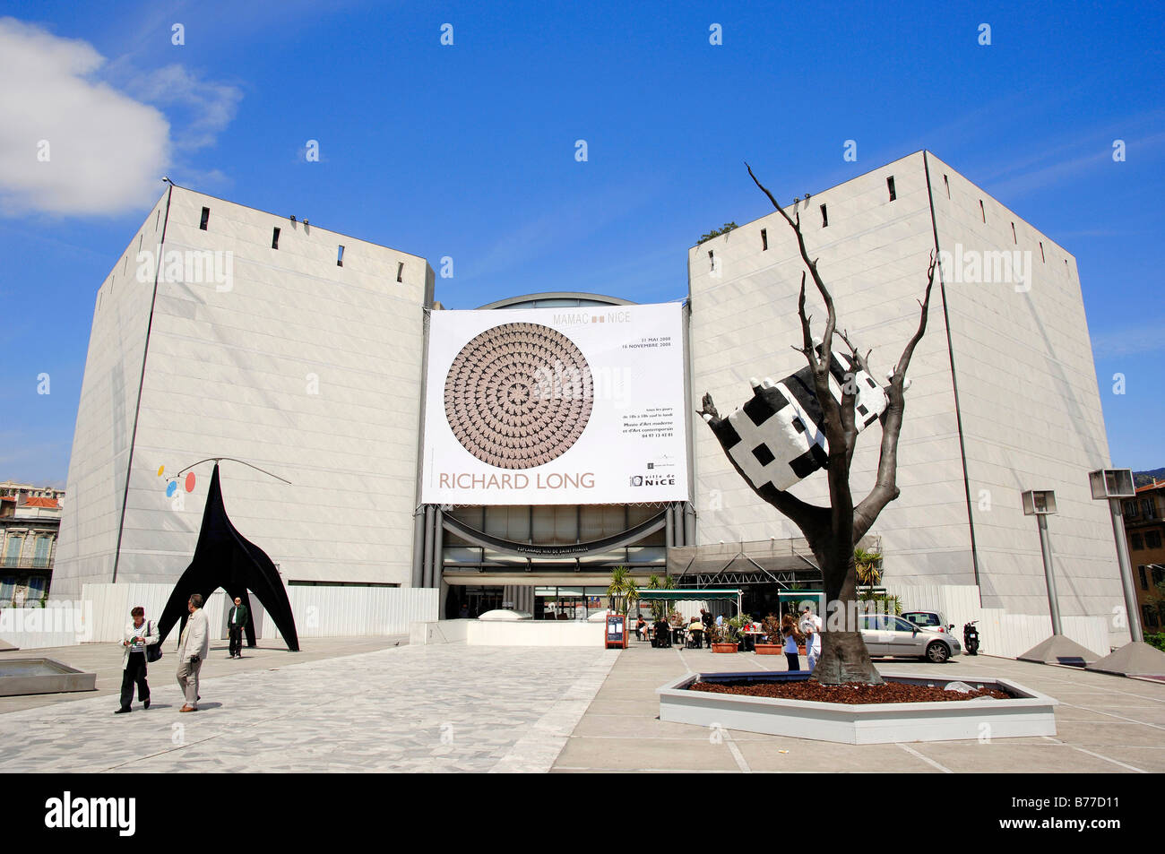 Works of art in front of museum of art Musee d'Art Moderne et d'Art Contemporain, Nice, Alpes-Maritimes, - Stock Image