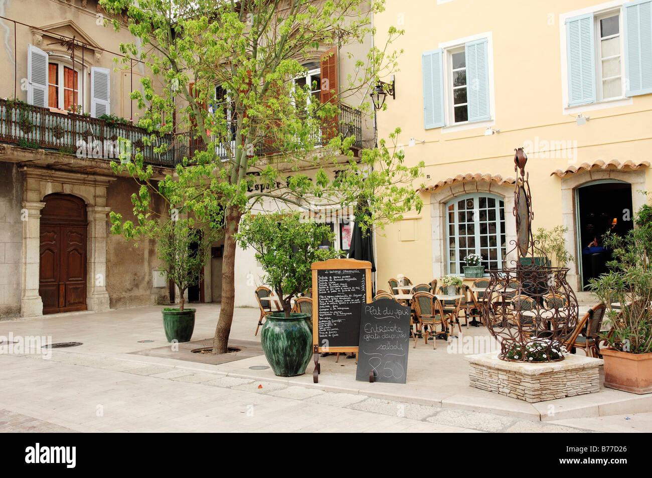 Restaurant, La Colle sur Loup, Alpes-Maritimes, Provence-Alpes-Cote d'Azur, Southern France, France, Europe, - Stock Image