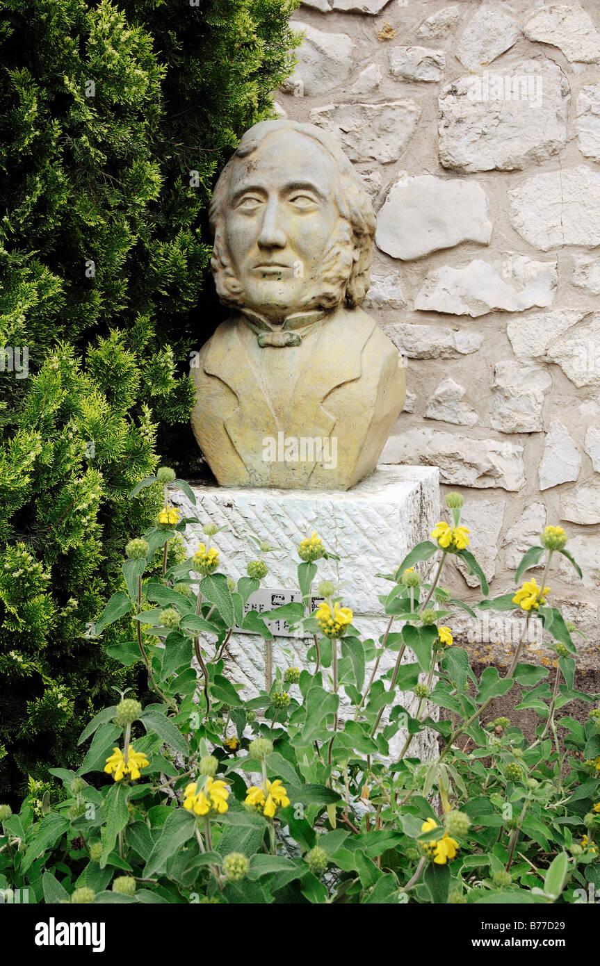 Bust of writer Eugene Sue, La Colle sur Loup, Alpes-Maritimes, Provence-Alpes-Cote d'Azur, Southern France, - Stock Image
