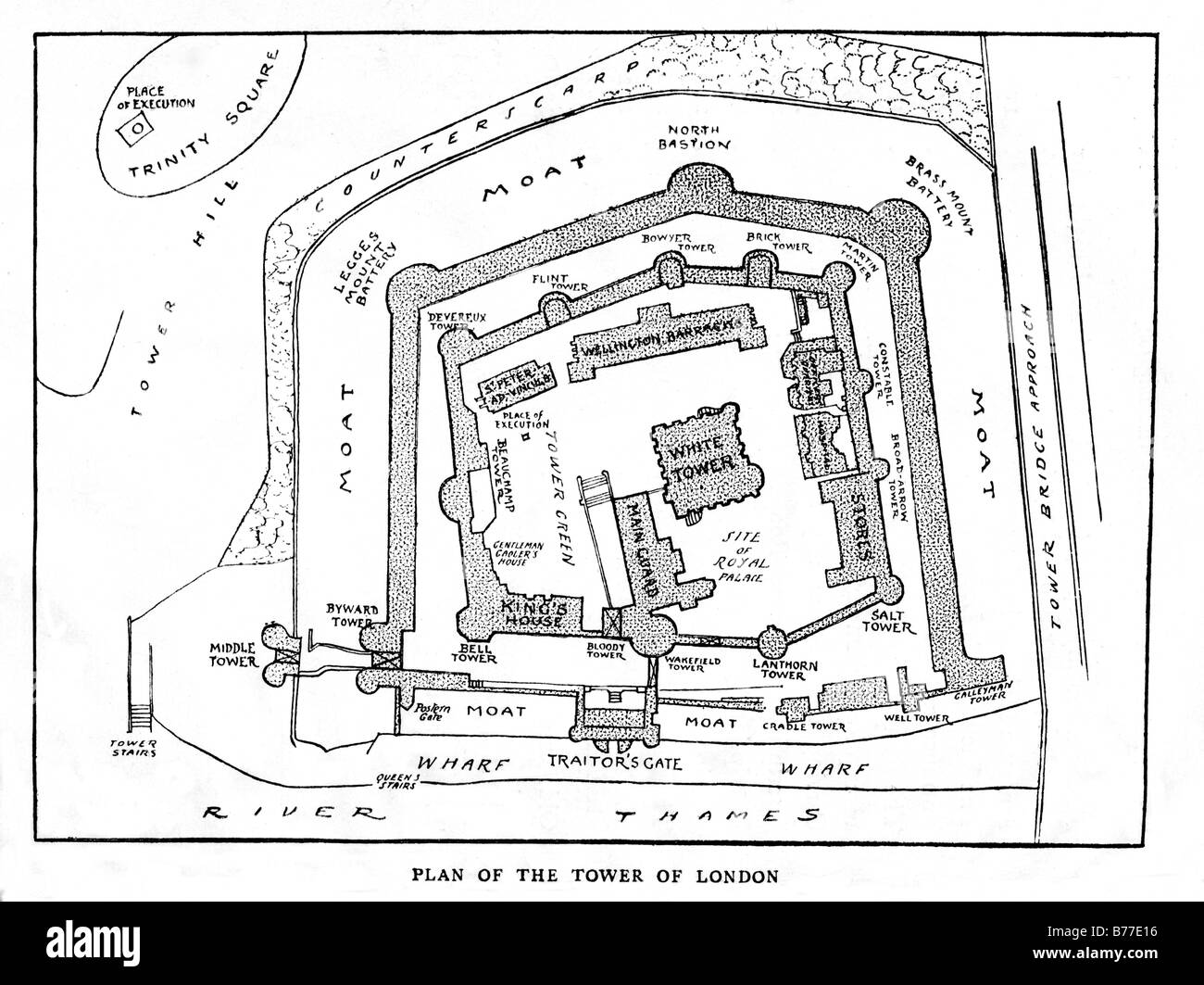 Tower of London 1885 plan of the layout of the London landmark as it was in Victorian times - Stock Image