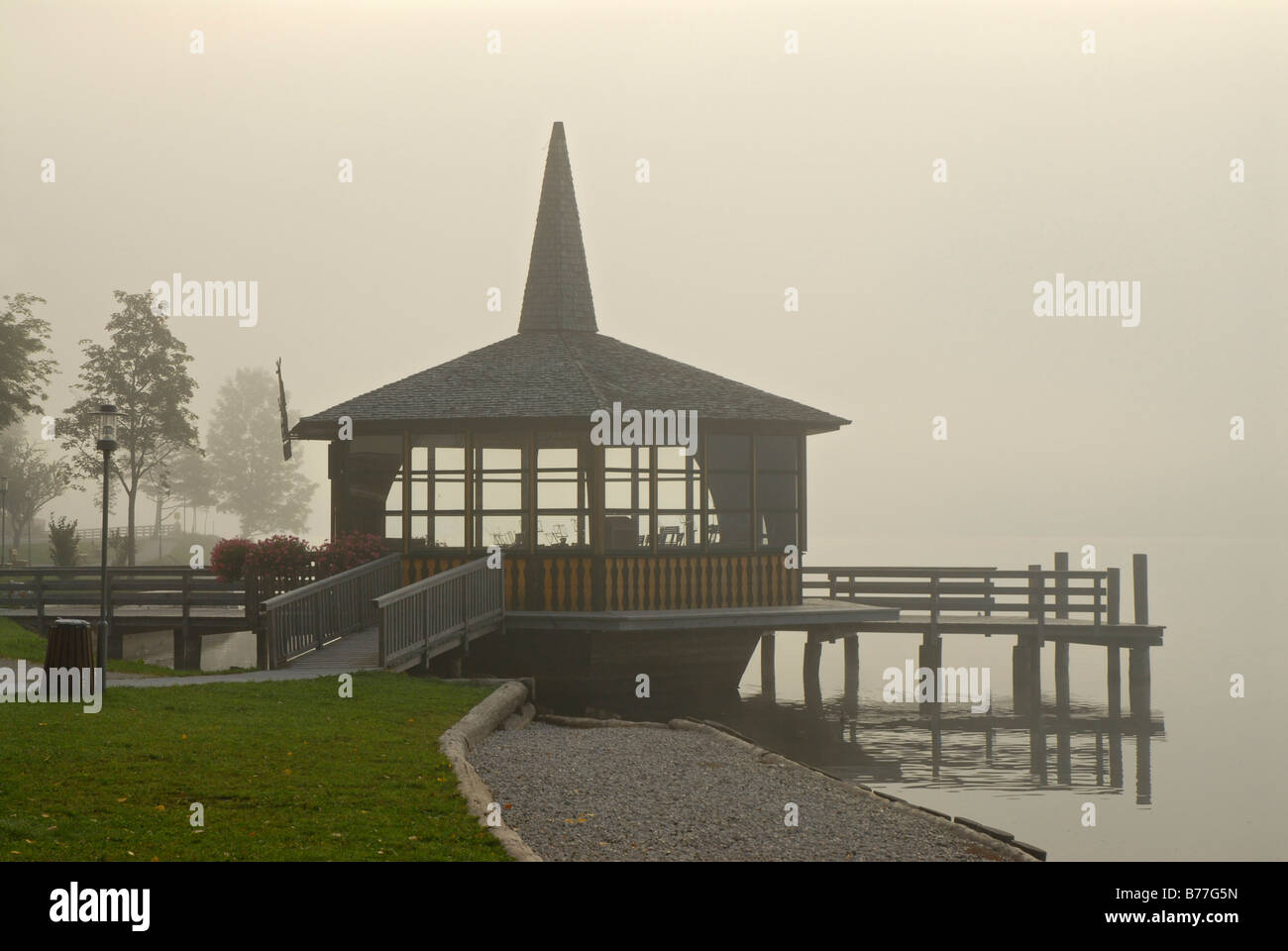 Morning fog and a pagoda at Grundlsee in northern Styria, Austria, Europe Stock Photo
