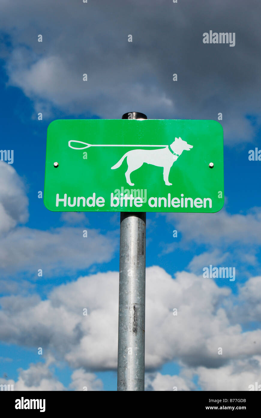 Sign 'Hunde bitte anleinen' jutting out into the sky - Stock Image