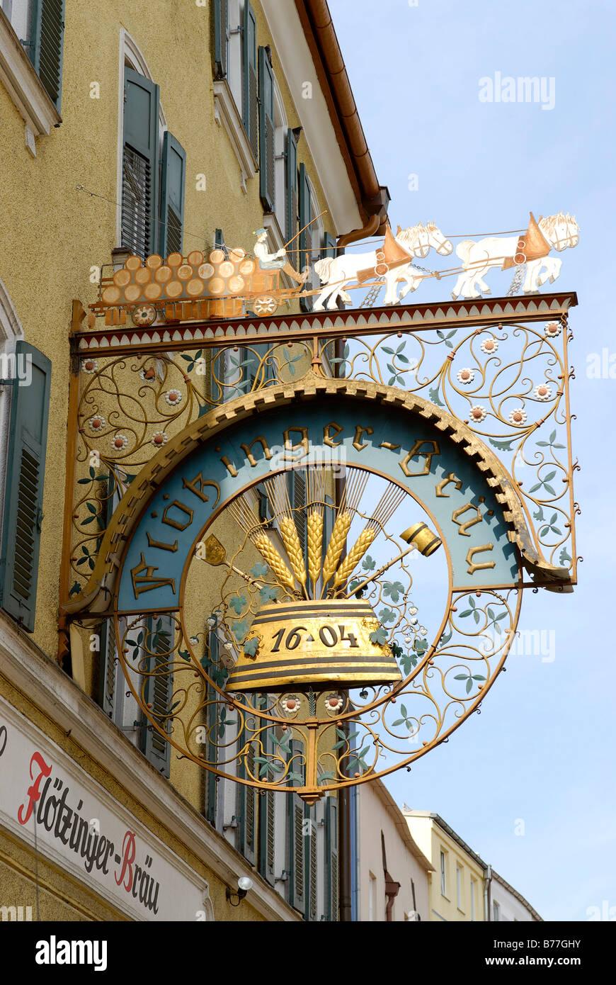Stockhammer Restaurant sign, Kaiserstr., Rosenheim, Upper Bavaria, Germany, Europe - Stock Image