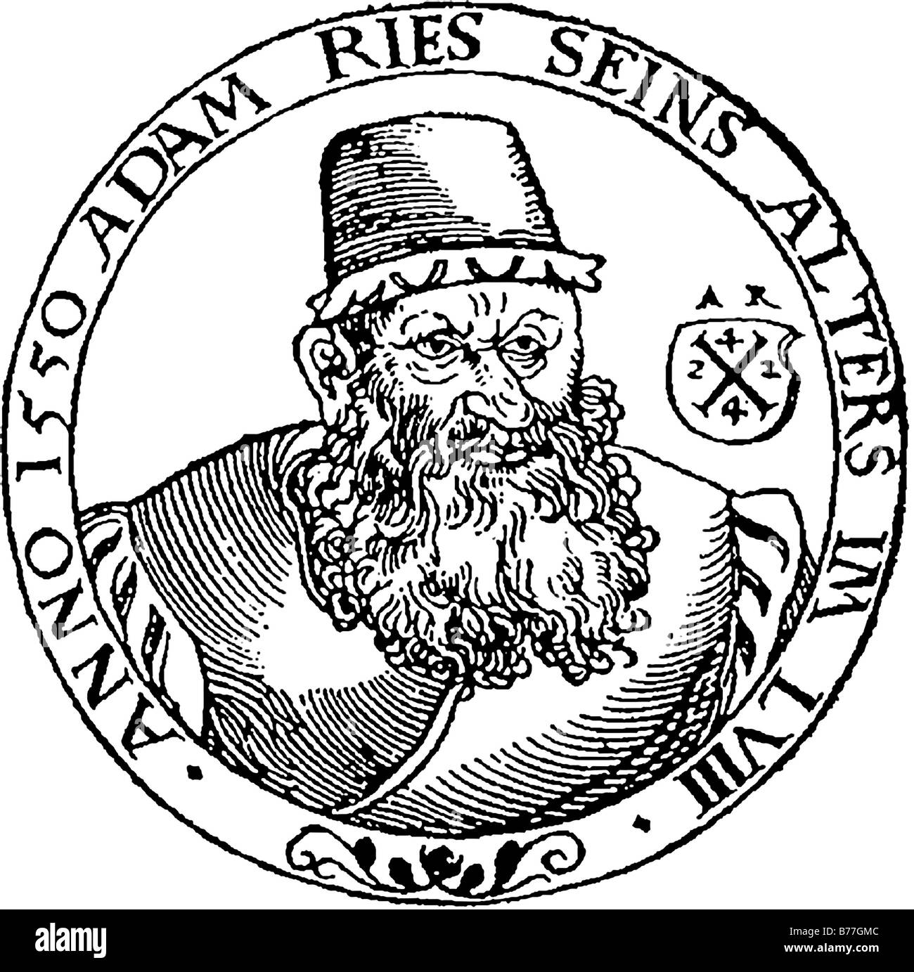 Adam Riese, Ries, 58 years old, wood carving from 1550, portrait - Stock Image