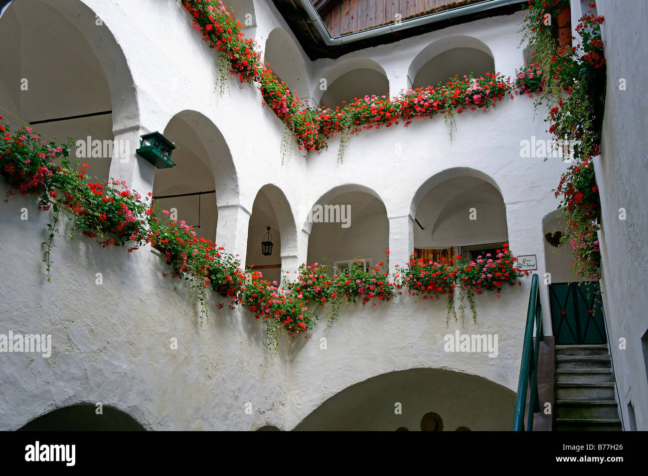 Arcaded courtyard in Haas House, Gmunden on lake Traunsee, Upper Austria, Austria, Europe - Stock Image
