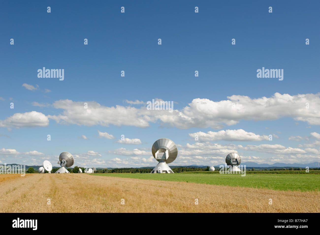 Earth station antennas, radio telescope, near Raisting, Upper Bavaria, Bavaria, Germany, Europe Stock Photo