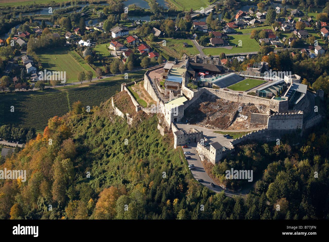 Landskron Fortress near Villach, aerial photograph, Carinthia, Austria, Europe Stock Photo